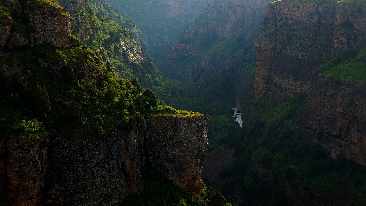 canyon, mountains, river